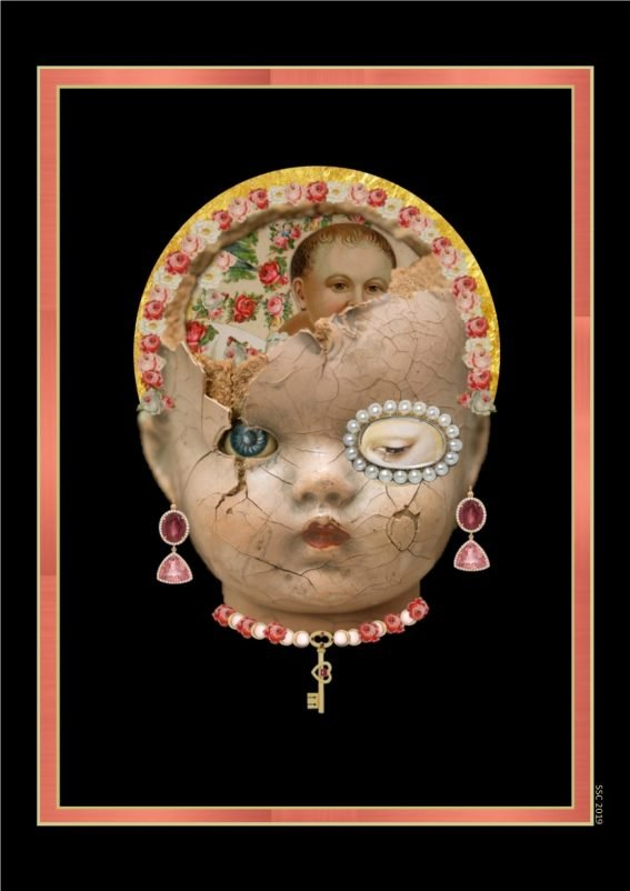 Not Going Back To Normal Banner Image: the porcelain head of a doll stands out from a black background. The face is covered in tiny cracks and the top of the head is broken, revealing Victorian scrap paper and flowers inside. One of the doll's eyes is ringed with pearls. It wears drop earrings and a choker decorated with a gold key.