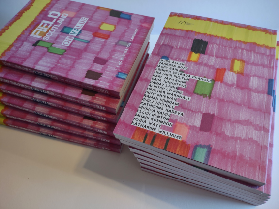 Two piles of FIELD journals with colourful, predominantly pink, front covers. The front cover reads 'FIELD SCOTLAND: ON VALUE' The back cover lists the names of all contributors